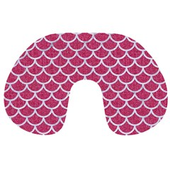 Scales1 White Marble & Pink Denim Travel Neck Pillows