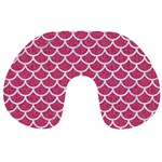 SCALES1 WHITE MARBLE & PINK DENIM Travel Neck Pillows Front