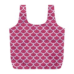 Scales1 White Marble & Pink Denim Full Print Recycle Bags (l)
