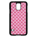 SCALES1 WHITE MARBLE & PINK DENIM Samsung Galaxy S5 Case (Black) Front