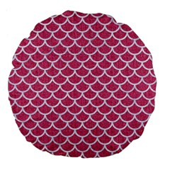 Scales1 White Marble & Pink Denim Large 18  Premium Flano Round Cushions by trendistuff