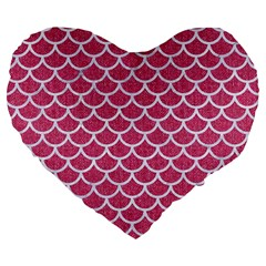 Scales1 White Marble & Pink Denim Large 19  Premium Flano Heart Shape Cushions by trendistuff