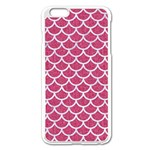 SCALES1 WHITE MARBLE & PINK DENIM Apple iPhone 6 Plus/6S Plus Enamel White Case Front
