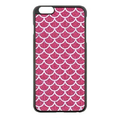 Scales1 White Marble & Pink Denim Apple Iphone 6 Plus/6s Plus Black Enamel Case