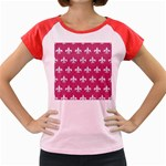 ROYAL1 WHITE MARBLE & PINK DENIM (R) Women s Cap Sleeve T-Shirt Front