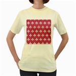 ROYAL1 WHITE MARBLE & PINK DENIM (R) Women s Yellow T-Shirt Front