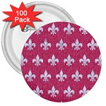 ROYAL1 WHITE MARBLE & PINK DENIM (R) 3  Buttons (100 pack)  Front