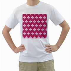 Royal1 White Marble & Pink Denim (r) Men s T Shirt (white) (two Sided)