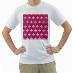 ROYAL1 WHITE MARBLE & PINK DENIM (R) Men s T-Shirt (White) (Two Sided) Front