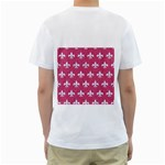 ROYAL1 WHITE MARBLE & PINK DENIM (R) Men s T-Shirt (White) (Two Sided) Back