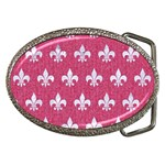 ROYAL1 WHITE MARBLE & PINK DENIM (R) Belt Buckles Front