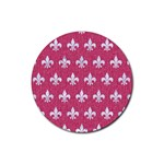 ROYAL1 WHITE MARBLE & PINK DENIM (R) Rubber Round Coaster (4 pack)  Front