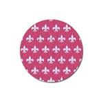 ROYAL1 WHITE MARBLE & PINK DENIM (R) Magnet 3  (Round) Front
