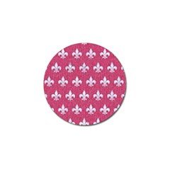 Royal1 White Marble & Pink Denim (r) Golf Ball Marker by trendistuff