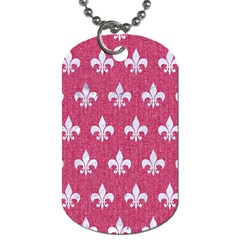 Royal1 White Marble & Pink Denim (r) Dog Tag (two Sides)