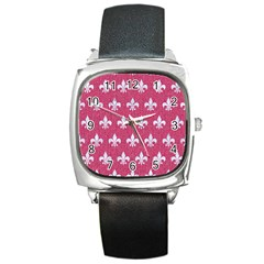 Royal1 White Marble & Pink Denim (r) Square Metal Watch
