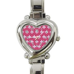 Royal1 White Marble & Pink Denim (r) Heart Italian Charm Watch