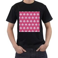 Royal1 White Marble & Pink Denim (r) Men s T Shirt (black) (two Sided)