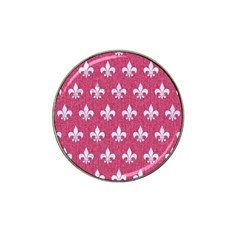Royal1 White Marble & Pink Denim (r) Hat Clip Ball Marker (4 Pack) by trendistuff