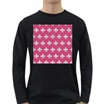 ROYAL1 WHITE MARBLE & PINK DENIM (R) Long Sleeve Dark T-Shirts Front