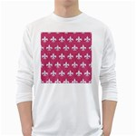 ROYAL1 WHITE MARBLE & PINK DENIM (R) White Long Sleeve T-Shirts Front