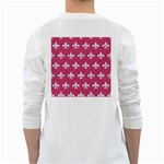 ROYAL1 WHITE MARBLE & PINK DENIM (R) White Long Sleeve T-Shirts Back