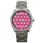 ROYAL1 WHITE MARBLE & PINK DENIM (R) Sport Metal Watch Front