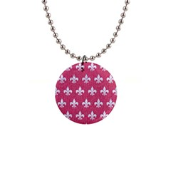 Royal1 White Marble & Pink Denim (r) Button Necklaces