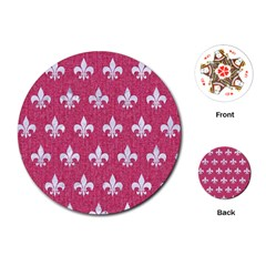 Royal1 White Marble & Pink Denim (r) Playing Cards (round)  by trendistuff