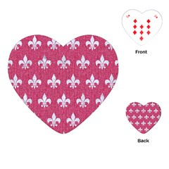 Royal1 White Marble & Pink Denim (r) Playing Cards (heart)  by trendistuff