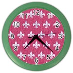 ROYAL1 WHITE MARBLE & PINK DENIM (R) Color Wall Clocks Front