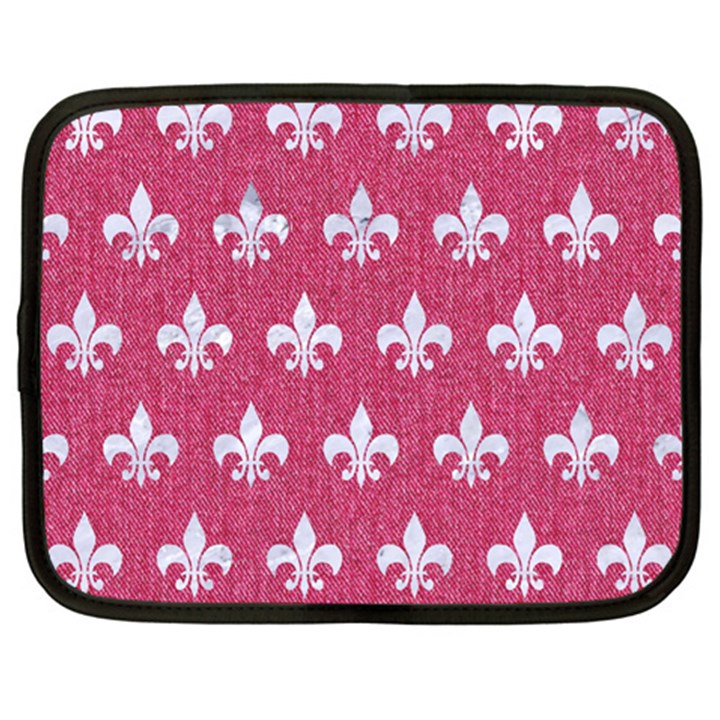 ROYAL1 WHITE MARBLE & PINK DENIM (R) Netbook Case (XXL)
