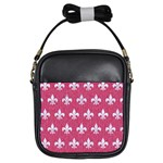 ROYAL1 WHITE MARBLE & PINK DENIM (R) Girls Sling Bags Front