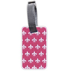 Royal1 White Marble & Pink Denim (r) Luggage Tags (one Side)