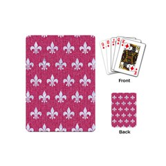 Royal1 White Marble & Pink Denim (r) Playing Cards (mini)