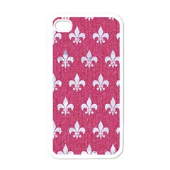 Royal1 White Marble & Pink Denim (r) Apple Iphone 4 Case (white) by trendistuff