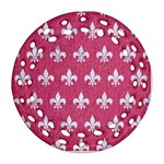 ROYAL1 WHITE MARBLE & PINK DENIM (R) Ornament (Round Filigree) Front