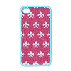 Royal1 White Marble & Pink Denim (r) Apple Iphone 4 Case (color) by trendistuff