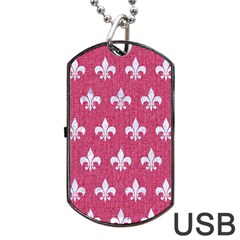 Royal1 White Marble & Pink Denim (r) Dog Tag Usb Flash (two Sides)