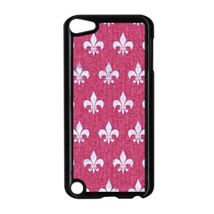 Royal1 White Marble & Pink Denim (r) Apple Ipod Touch 5 Case (black)