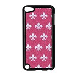 ROYAL1 WHITE MARBLE & PINK DENIM (R) Apple iPod Touch 5 Case (Black) Front