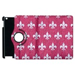ROYAL1 WHITE MARBLE & PINK DENIM (R) Apple iPad 3/4 Flip 360 Case Front