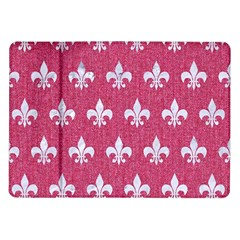 Royal1 White Marble & Pink Denim (r) Samsung Galaxy Tab 10 1  P7500 Flip Case