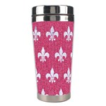 ROYAL1 WHITE MARBLE & PINK DENIM (R) Stainless Steel Travel Tumblers Center