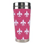 ROYAL1 WHITE MARBLE & PINK DENIM (R) Stainless Steel Travel Tumblers Right