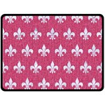 ROYAL1 WHITE MARBLE & PINK DENIM (R) Double Sided Fleece Blanket (Large)  80 x60  Blanket Back