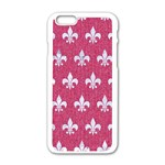 ROYAL1 WHITE MARBLE & PINK DENIM (R) Apple iPhone 6/6S White Enamel Case Front