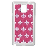 ROYAL1 WHITE MARBLE & PINK DENIM (R) Samsung Galaxy Note 4 Case (White) Front