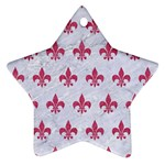 ROYAL1 WHITE MARBLE & PINK DENIM Ornament (Star) Front