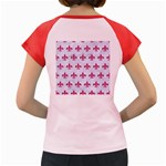 ROYAL1 WHITE MARBLE & PINK DENIM Women s Cap Sleeve T-Shirt Back